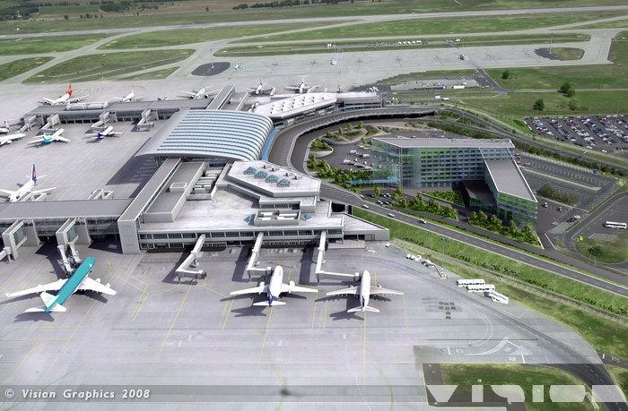 Egy 2008-as látványterv a Ferihegy 2-es termináljáról, a tervezett szállodáról valamint a további utashidakat magába foglaló szatellitépületekről. Mindez csak álom maradt. De vajon megvalósulhat a jövőben a tervezett hazai aerotropolisz? (Forrás: Vision Graphics) | © AIRportal.hu