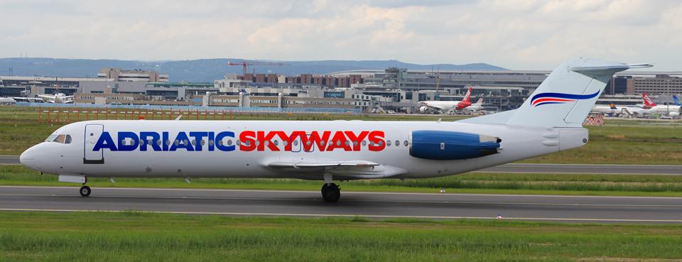Íme egy látványterv a tervezett Fokker 100 típusú repülőgép által viselt festésről. (Forrás: Adriatic Skyways)   © AIRportal.hu
