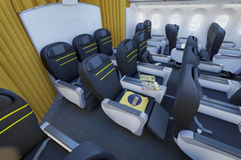 Íme a Business Class látványterve! Bár low-cost modellben üzemel a Singapore Airlines által létrehozott légifuvarozó, de az üzleti osztályt elengedhetetlennek vélték. (Grafika: Scoot) | © AIRportal.hu