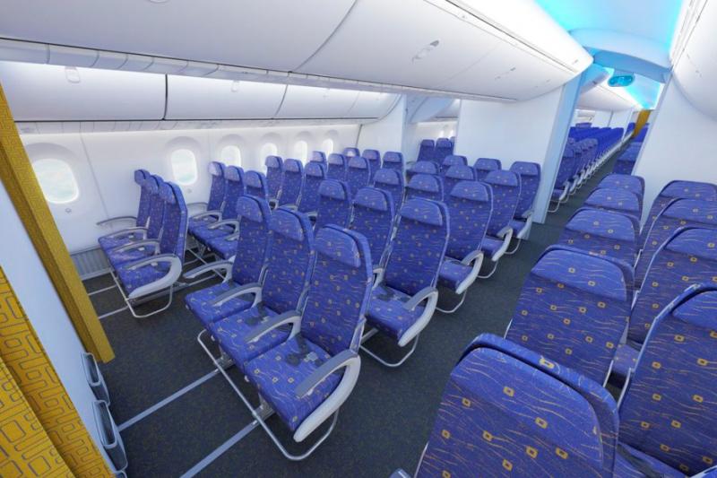 A Scoot Boeing 787-9 turistaosztályának látványterve. A szingapúri low-cost modellben működő légitársaság kétosztályos elrendezésben kívánja közlekedtetni repülőgépeit. (Grafika: Scoot) | © AIRportal.hu