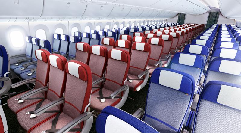 A szélestörzsű A350-es és B787-9 Dreamliner Economy Class ülései, a színösszeállítás a LAN kékjét és a TAM pirosát szimbolizálja. (Forrás: LATAM Group) | © AIRportal.hu