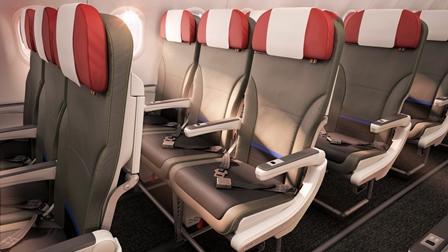 A keskenytörzsű A320-as család turista ülései (Forrás: LATAM Group) | © AIRportal.hu