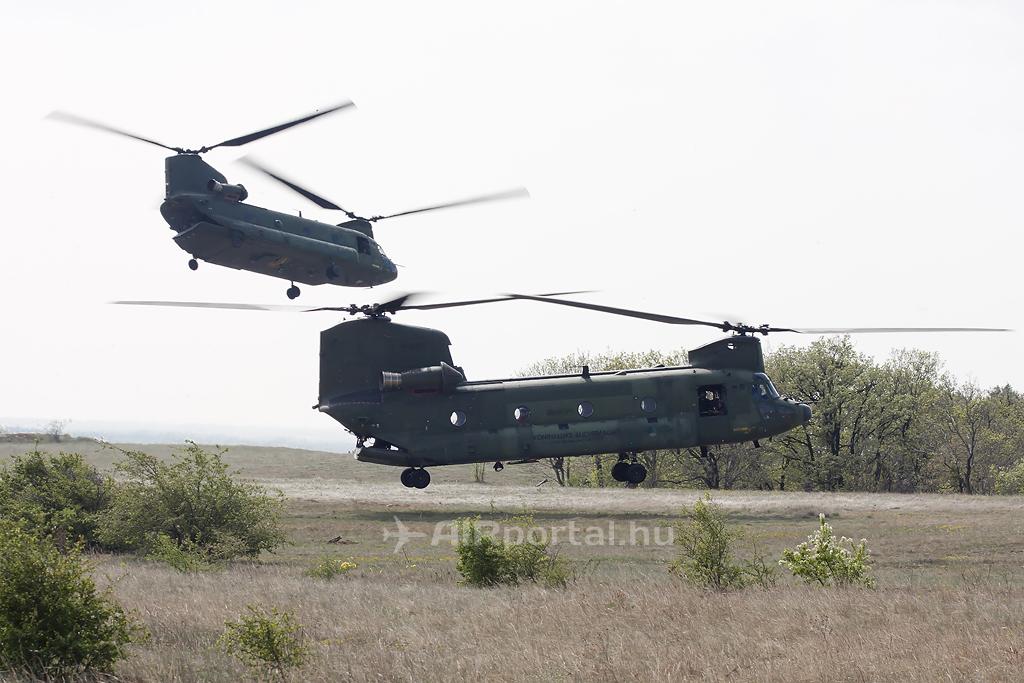 CH-47D Chinook géppár a desszant kirakása után. (Fotó: Mészáros Balázs - AIRportal.hu) A képre kattintva galéria nyílik!   © AIRportal.hu