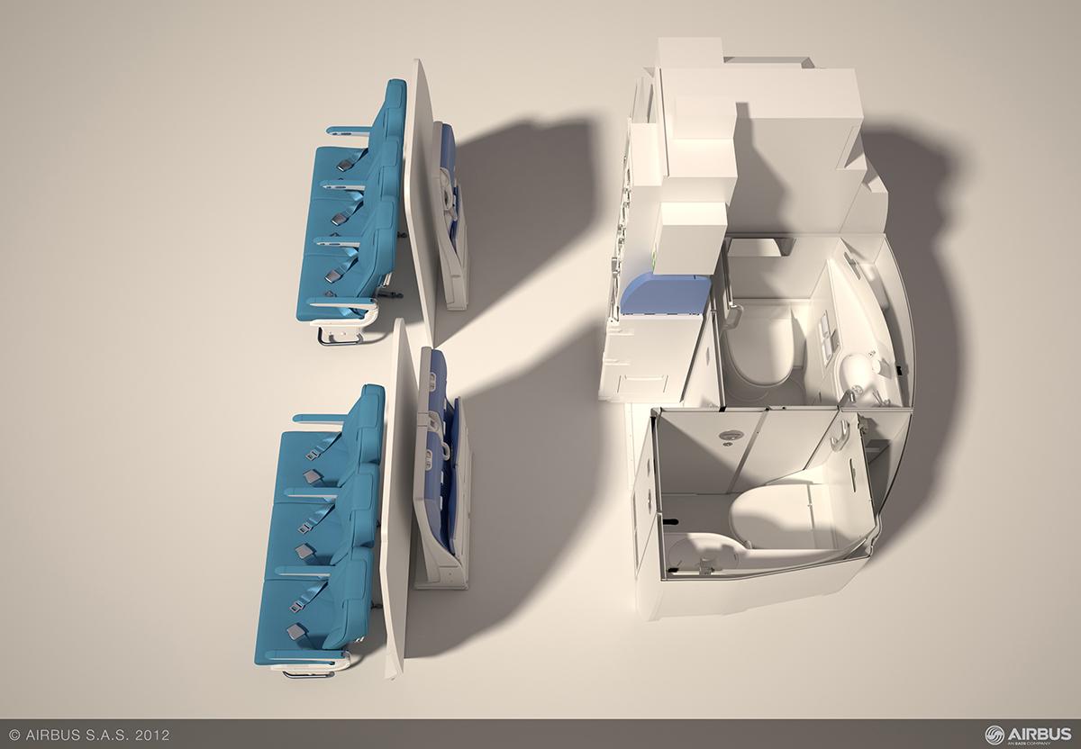 A Spaceflex koncepció látványterve. Ezzel az elrendezéssel nagyobb befogadóképesség elérésére lesz képes az Airbus A320 repülőgép. (Forrás: Airbus) | © AIRportal.hu
