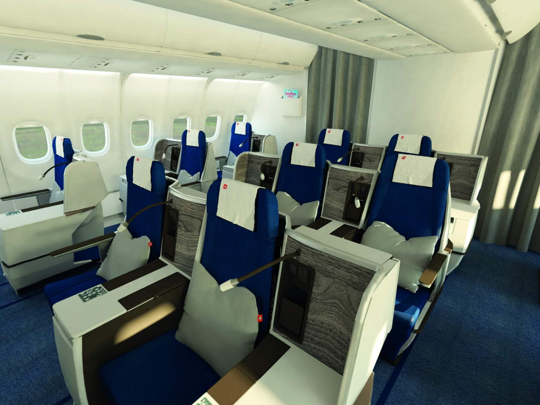 A Businnes Class ülései kényelmesek és elegánsak. (Forrás: Edelweiss) | © AIRportal.hu