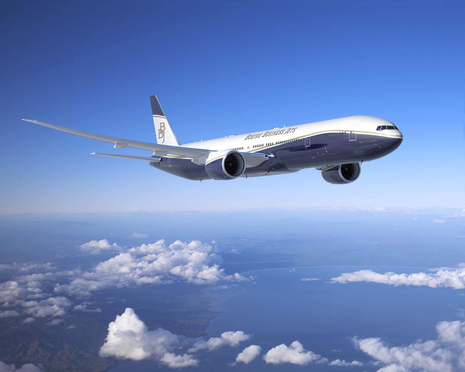 A BBJ777-es gyári színekben. (Forrás: Boeing Company) | © AIRportal.hu
