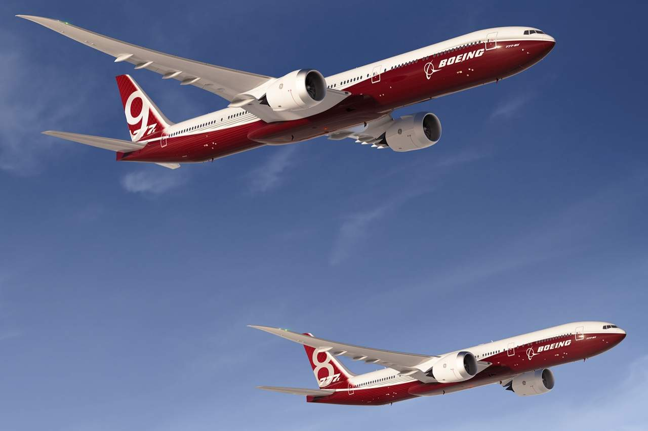 Boeing 777-9X és 777-8X együtt, egy látványterven. (Forrás: Boeing Company)   © AIRportal.hu
