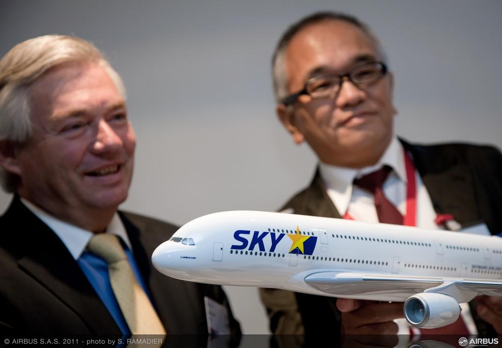 A Skymark Airlines szerződéskötése A380-800-asokra. A legelső megállapodás 2011-ben született. (Fotó: Airbus)   © AIRportal.hu