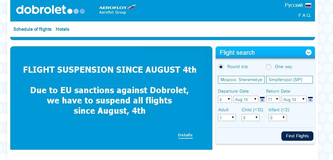 Képernyőfotó a Dobroljot angol nyelvű honlapjáról. (Forrás: dobrolet.com)   © AIRportal.hu