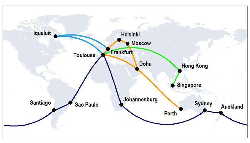 Az útvonalpróba térképe. (Forrás: Airbus) | © AIRportal.hu