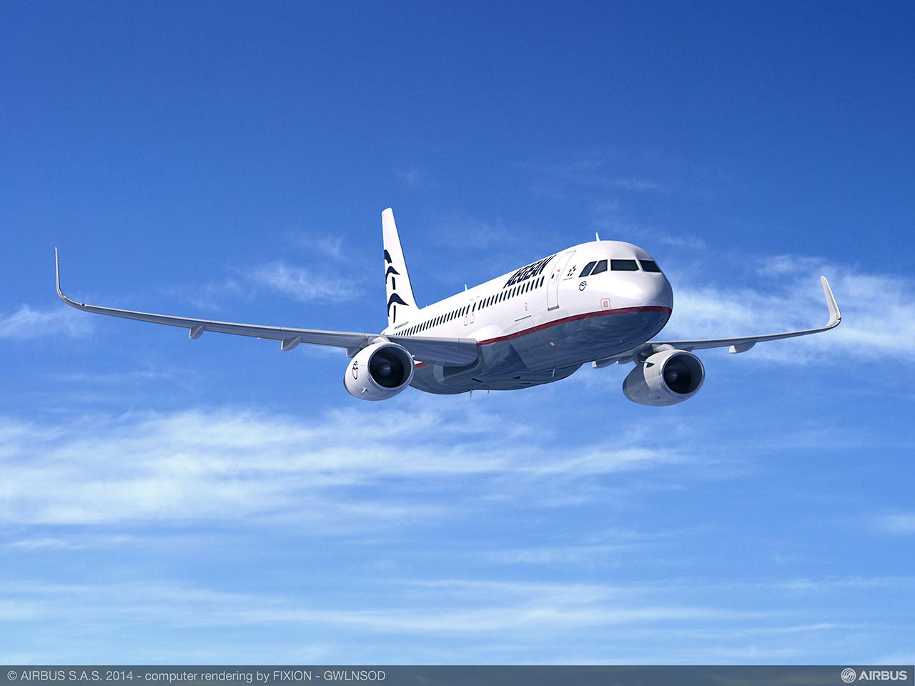 Az Airbus látványterve a sharklet szárnyvégekkel felszerelt Aegean Airlines Airbus A320-asról. (Forrás Airbus) | © AIRportal.hu