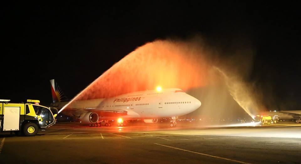 Az utolsó Philippine Boeing 747-es járat fogadása Manilában. (Fotó: Philippine Airlines)   © AIRportal.hu