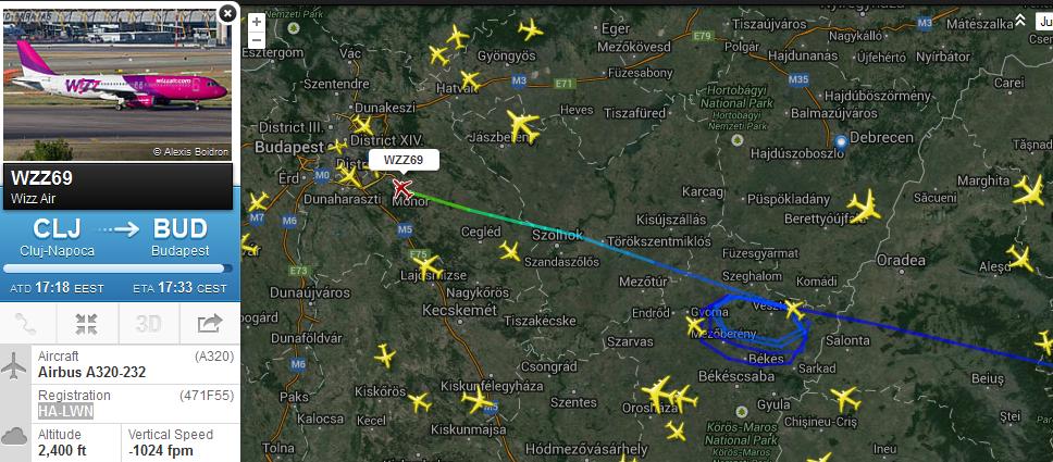 A járat útvonala az fr24.com radarképén. | © AIRportal.hu