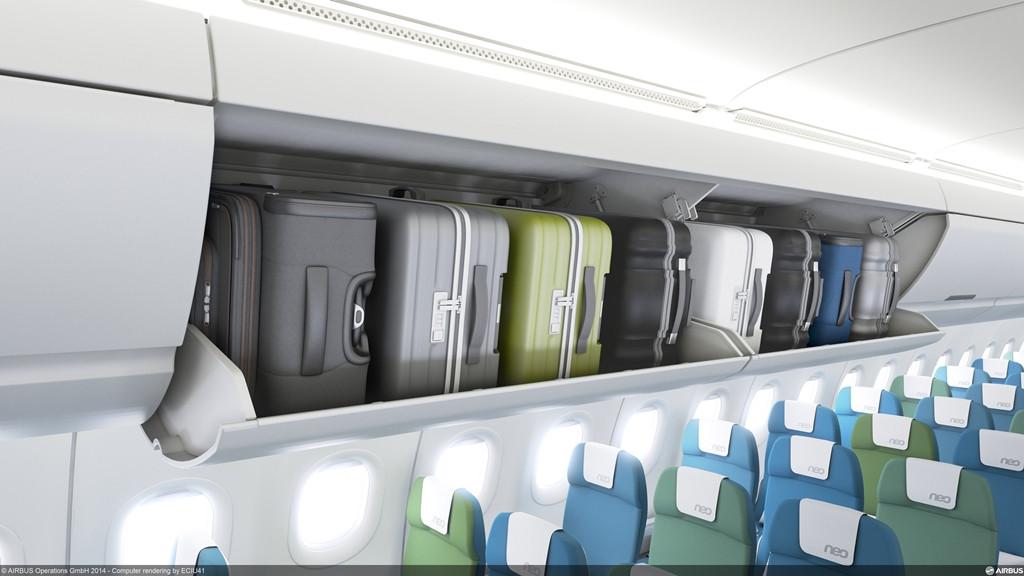 Számítógépes grafika az új, A320-as családra szánt csomagtartóról. (Forrás: Airbus)   © AIRportal.hu