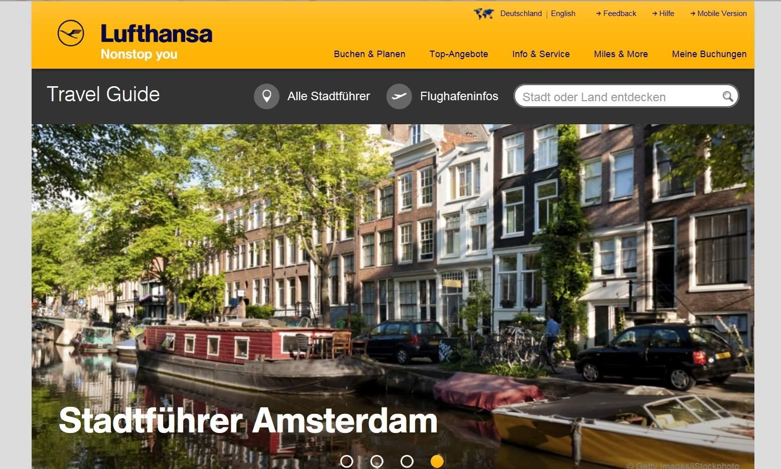 Képernyőfotó a Lufthansa online útikalauzáról, amely itt éppen a holland fővárost mutatja. (Forrás: Lufthansa) | © AIRportal.hu