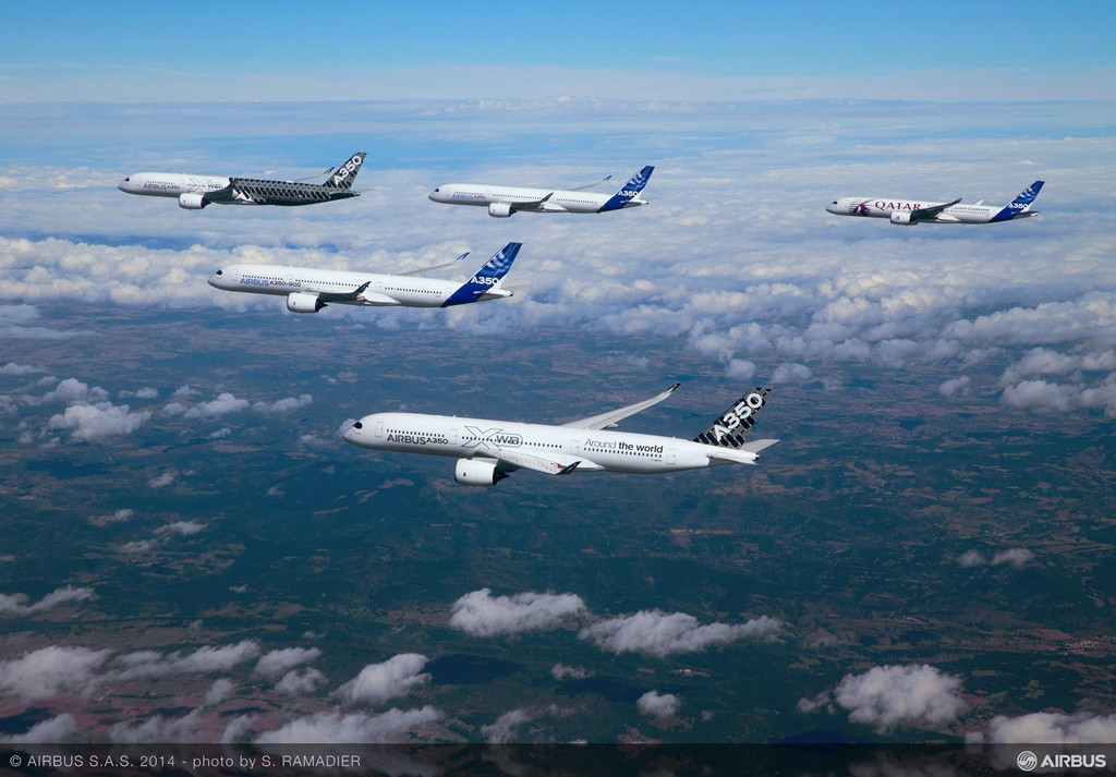 Repülés közben az A350-900 prototípusok. (Fotó: Airbus) | © AIRportal.hu