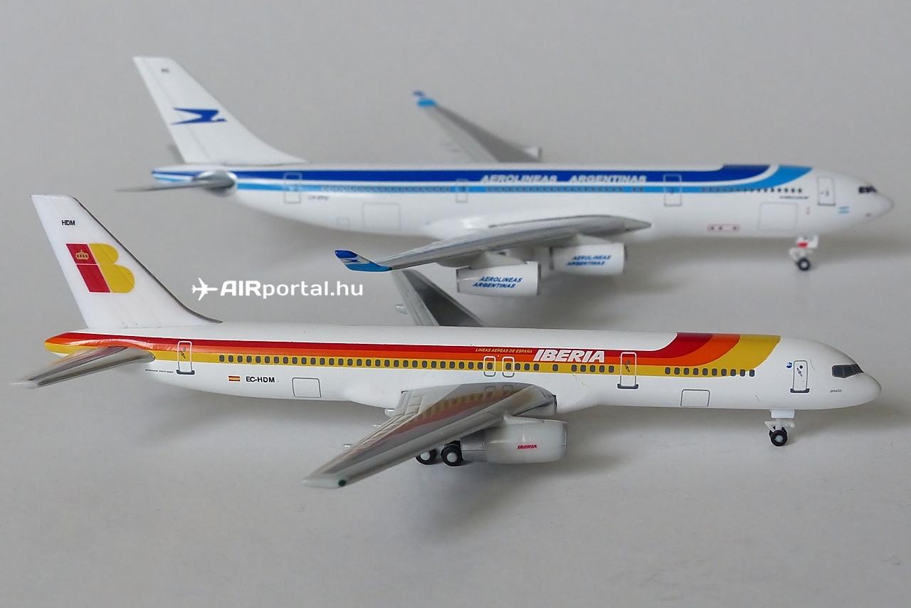 A legelső festésminta, amellyel az Aerolíneas Argentinas bevezette a típust közvetlen rokonságban állt az Iberia mintájával. Mindez azért valósult meg így, mert az Aerolíneas Argentinasban a spanyol  légitársaságnak akkoriban részesedése volt, és közös arculati elemekben gondolkodtak. Az A340-200-as itt egy Boeing 757-200-assal látható, azonos méretarányban. | © AIRportal.hu