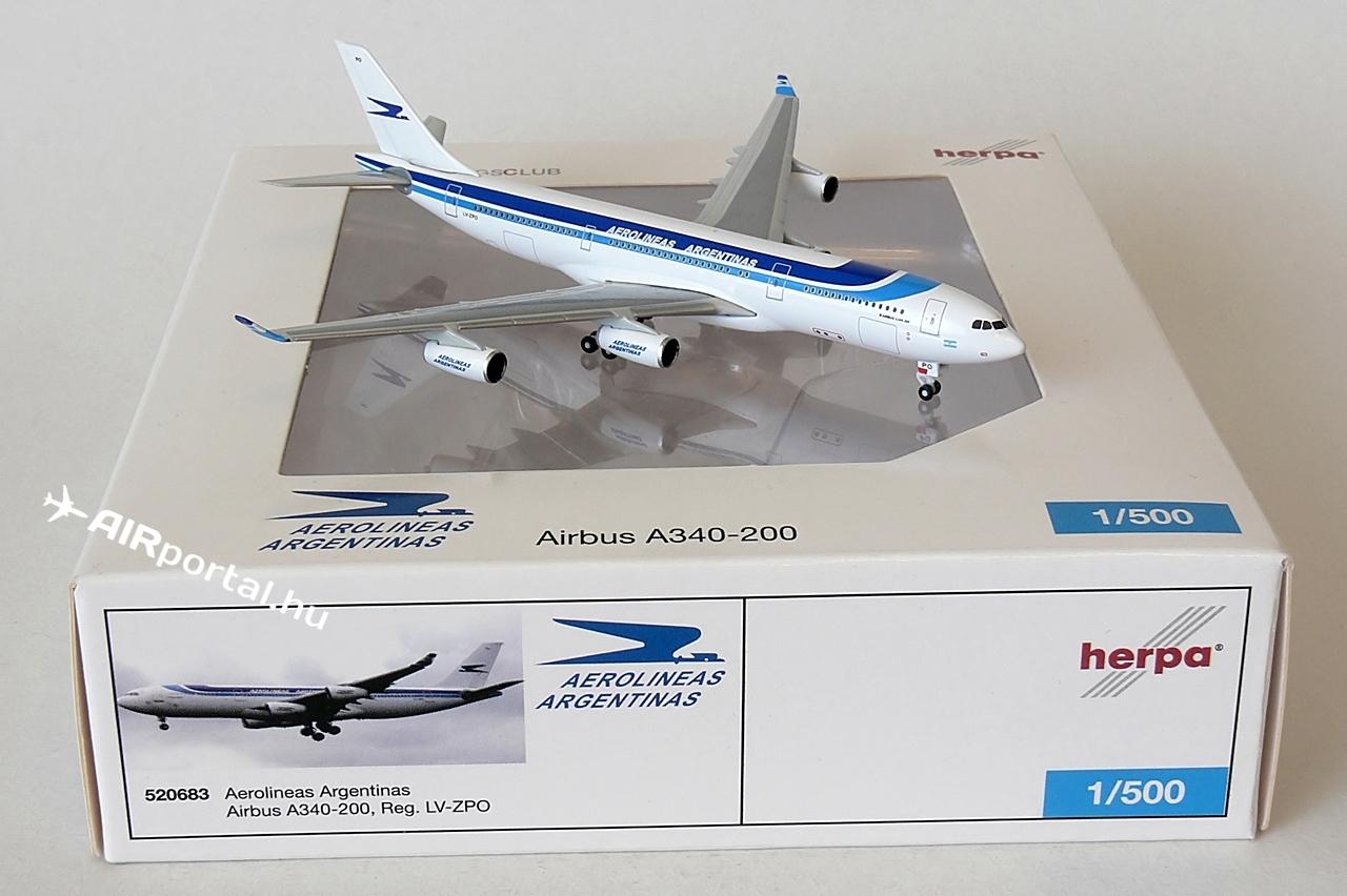 A Herpa 2011-ben jelentette be, hogy az 1:500 méretarányú Wings szériájában kiadja az argentin légitársaság Airbus A340-200-as modelljét. | © AIRportal.hu