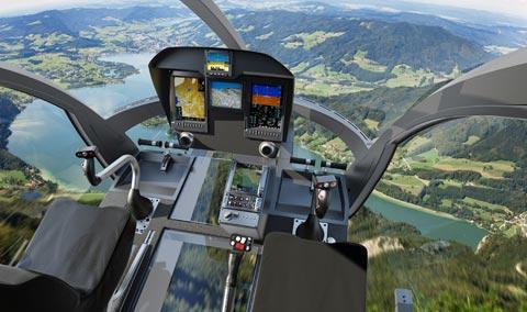 A pilóta munkáját megkönnyítő glass cockpit. (Forrás: Marenco Swisshelicopter) | © AIRportal.hu