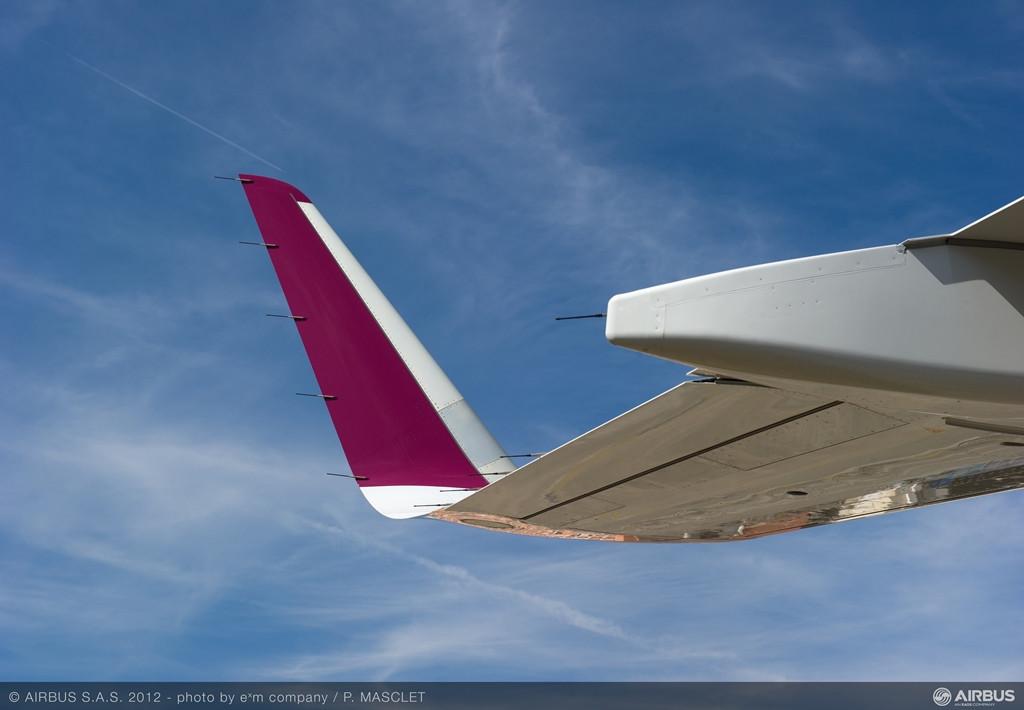 Közeli fotó a Qatar Airways A320-as gépének Sharklet szárnyvégéről. Budapesten egyébként eddig még nem járt sharkletes Qatar-gép. (Fotó: Airbus) | © AIRportal.hu