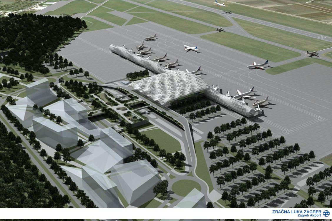 Madártávlati látványterv az új épületegyüttesről.(Grafika: Zagreb Airport) | © AIRportal.hu