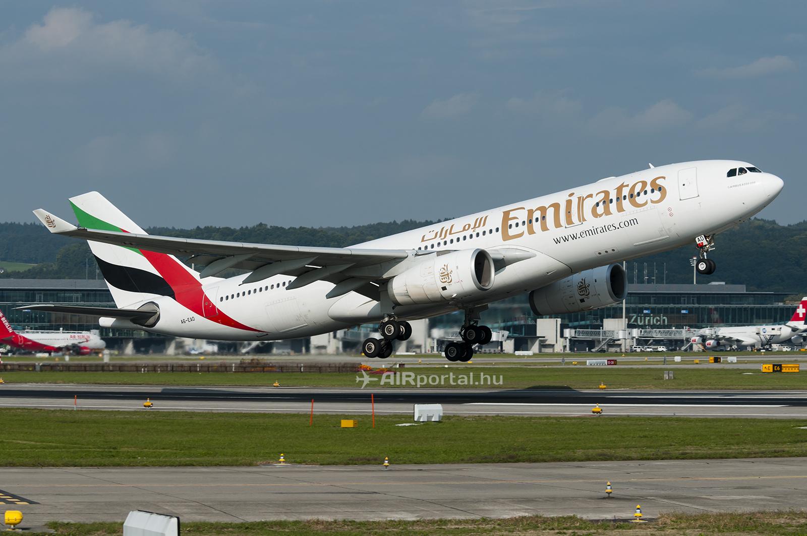 Emirates Airbus A330-200-as a zürichi repülőtéren. Ilyen géptípussal indul a napi rendszerességű budapesti járat is. (Fotó: Bodorics Tamás - AIRportal.hu) | © AIRportal.hu