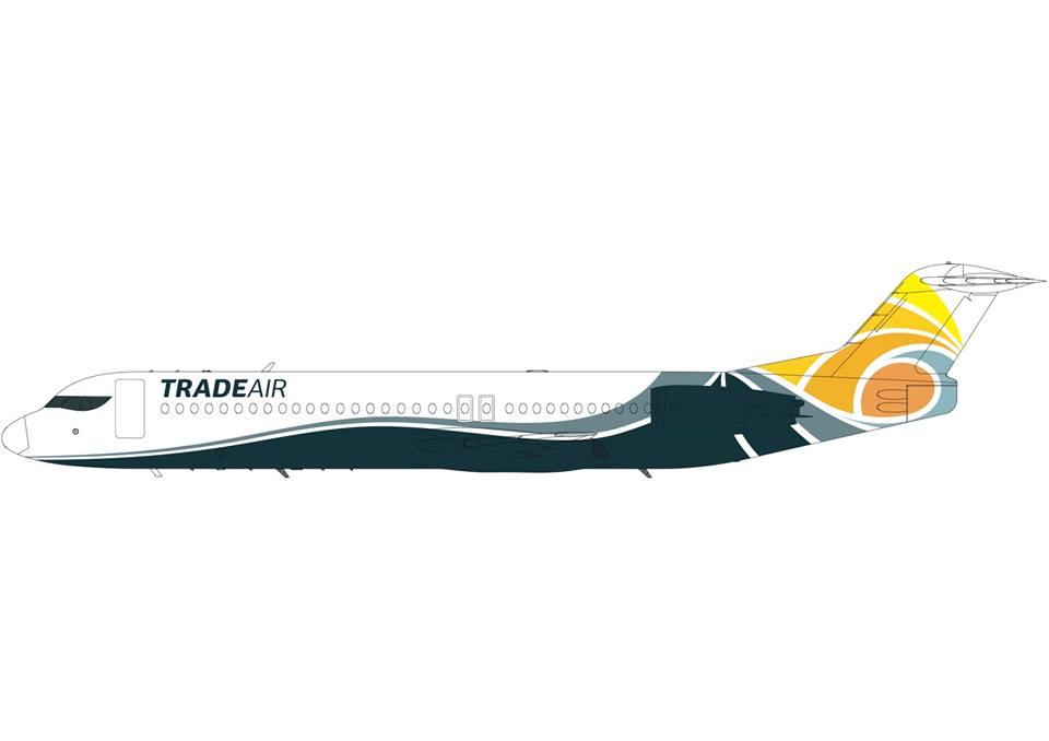 A Sunadria - Trade Air légitársaság új arculata a cég egy Fokker 100-as gépén. (Grafika: Trade air Facebook) | © AIRportal.hu