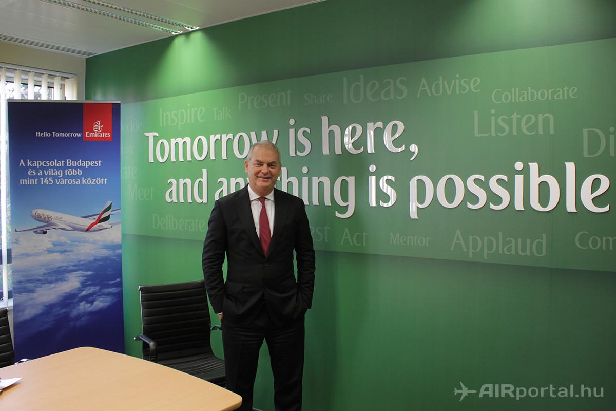 Thierry Antinori, az Emirates kereskedelmi igazgatója és alelnöke az Emirates most átadott ügyfélkapcsolati központjában. (Fotó: Rimóczi Roland - AIRportal.hu) | © AIRportal.hu