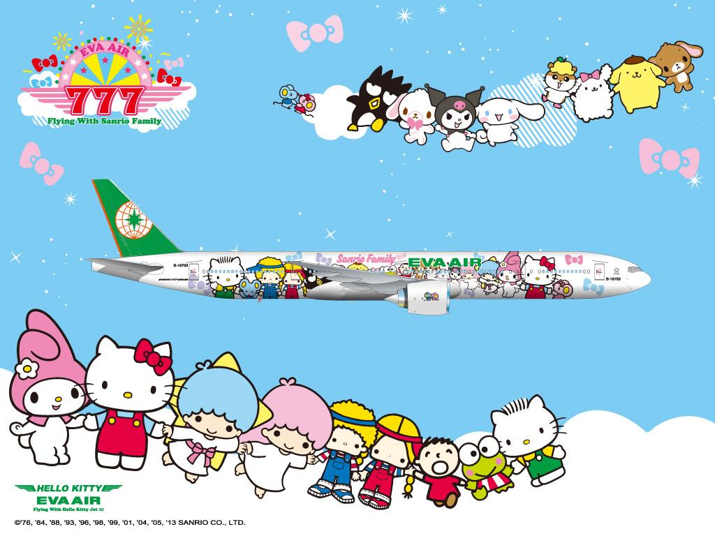 Az Eva Air Hello Kitty mintás Boeing 777-300ER repülőgépe. (Forrás: EVA Air)   © AIRportal.hu