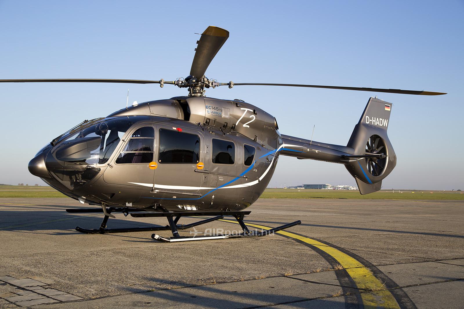 Az Airbus Helicopters D-HADW lajstromjelű, EC 145T2 típusú demonstrátor helikoptere október végén tartott bemutatót Magyarországon. (Fotó: AIRportal.hu)   © AIRportal.hu
