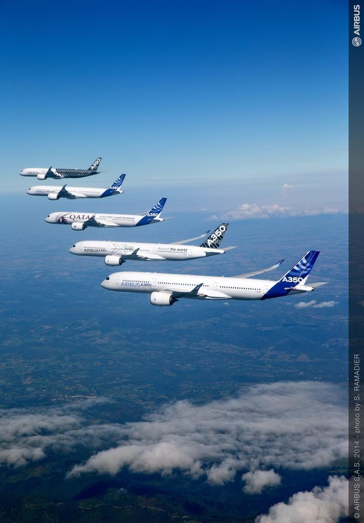 Az A350-900XWB prototípus-flotta repülés közben. (Fotó: Airbus)   © AIRportal.hu