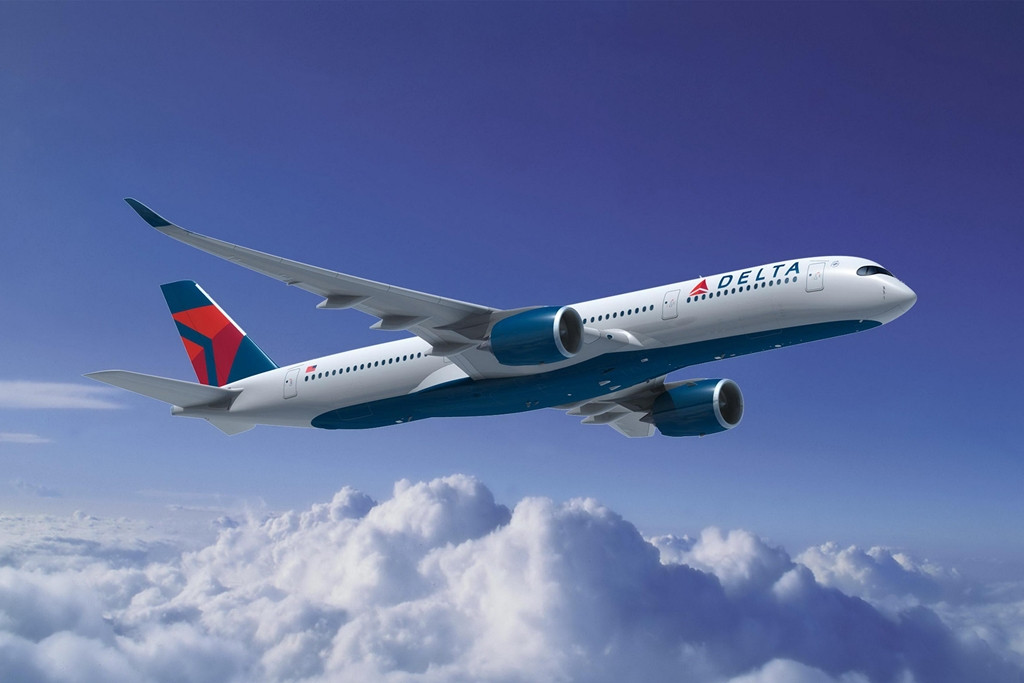 Airbus A350-900XWB Delta színekben, látványterven. (Forrás: Airbus)   © AIRportal.hu