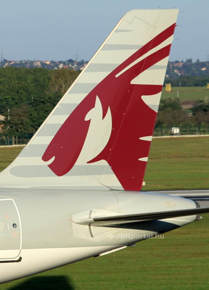 Qatar Airways Airbus vezérsík az Oryx-emblémával. (Fotó: © Csemniczky Kristóf - AIRportal.hu) | © AIRportal.hu