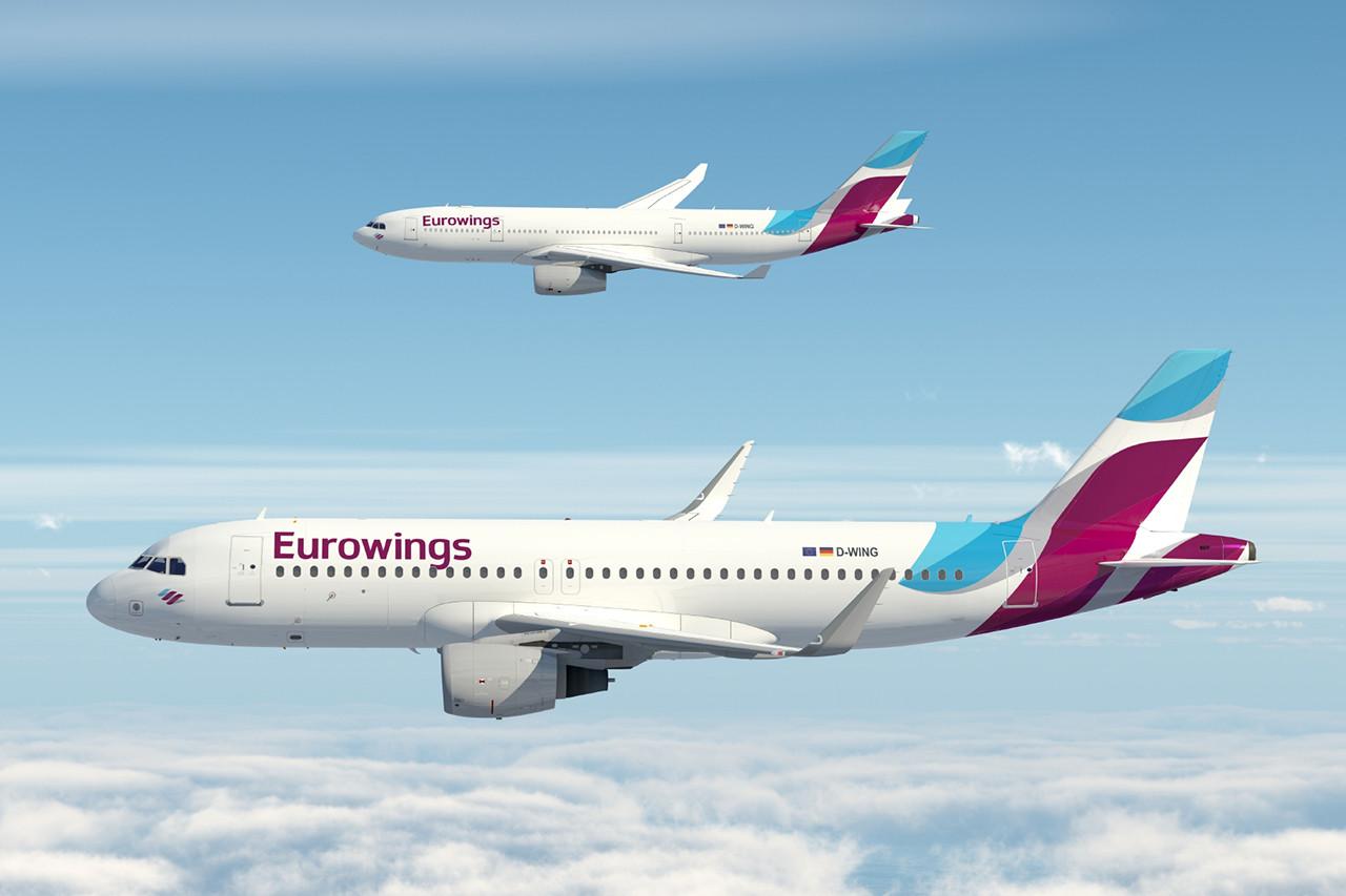 Az új Eurowings festés egy Airbus A320-as és egy A330-as repülőgépen. (Grafika: Lufthansa)   © AIRportal.hu