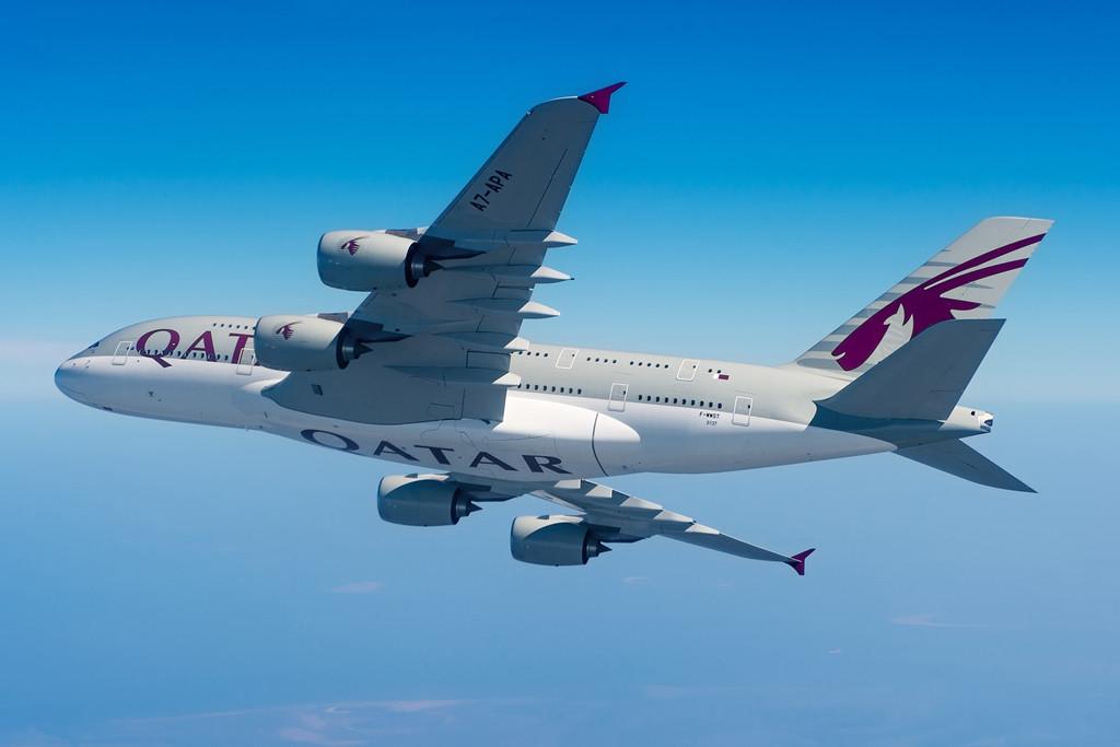 Qatar Airways Airbus A380-800-as repülés közben. (Fotó: Airbus) | © AIRportal.hu