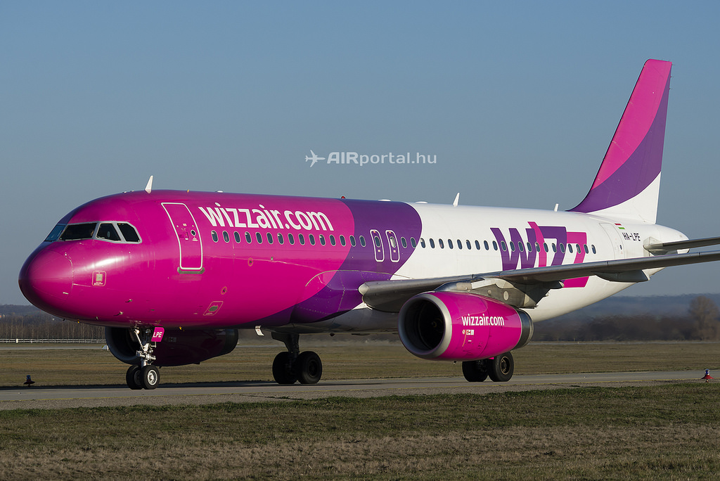A Wizz Air Airbus A320-as gépe Ferihegyen.  (Fotó: AIRportal.hu)   © AIRportal.hu