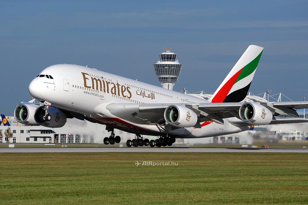 Az Emirates A380-as gépe.(Fotó: Kovács Gábor - AIRportal.hu)   © AIRportal.hu