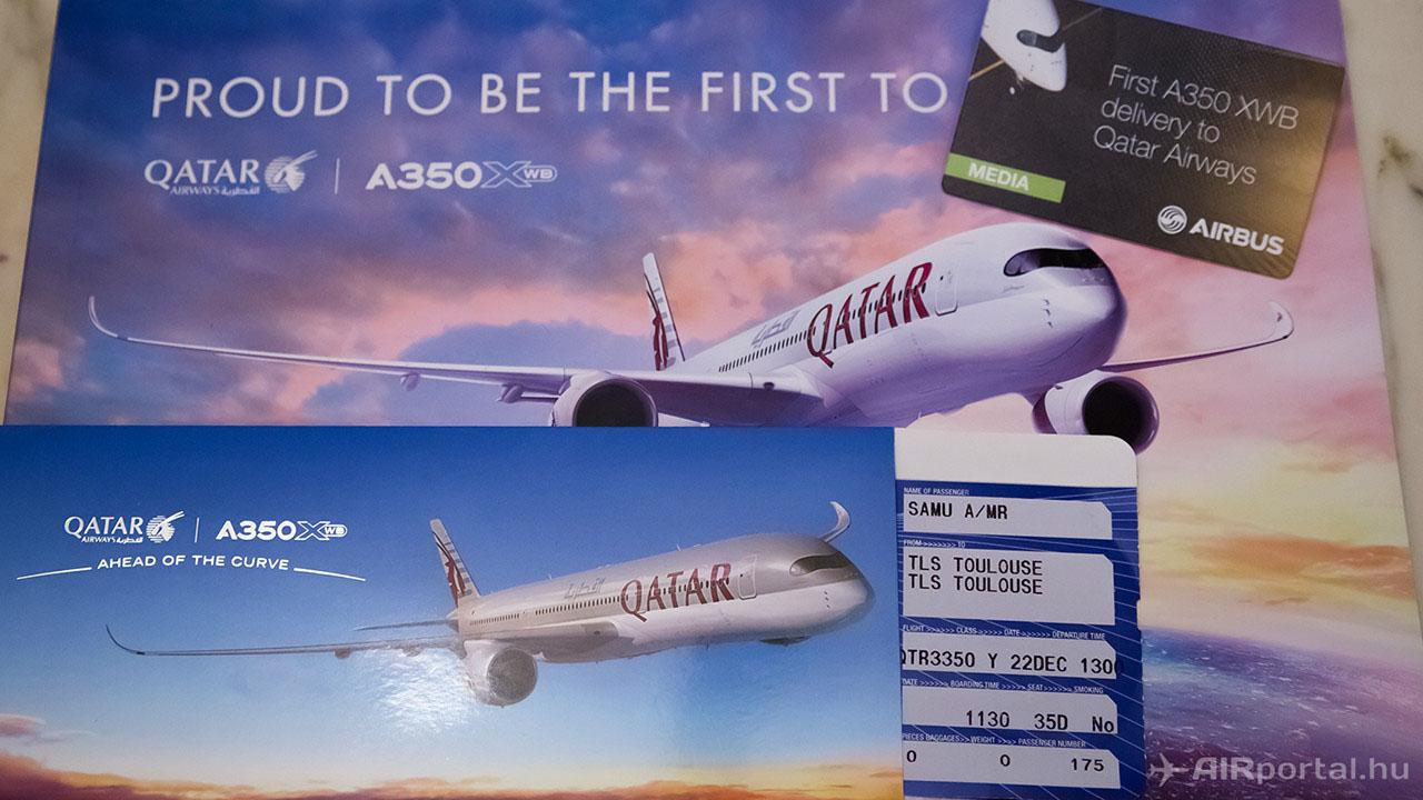 Beszállókártya a Qatar Airways QTR 3350-es számú Toulouse -Toulouse járatára.   © AIRportal.hu