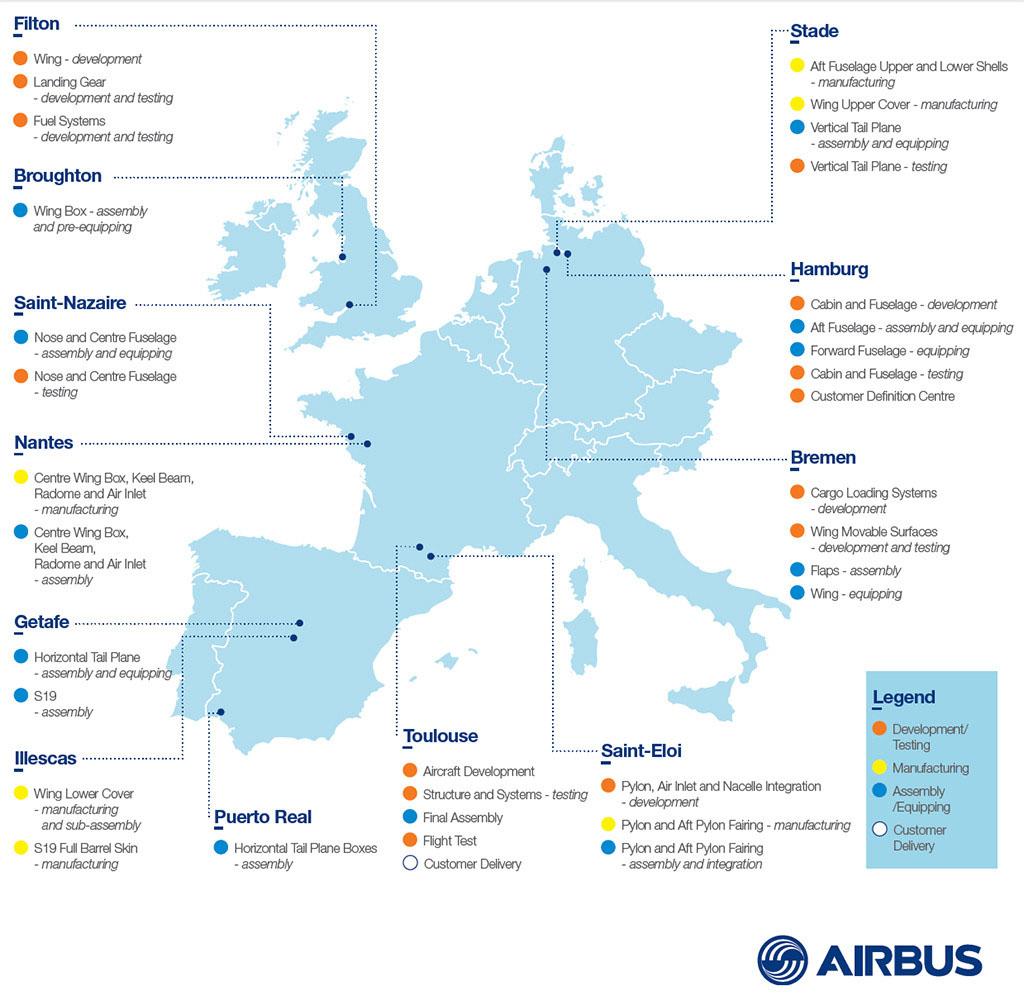 Az A350 XWB főbb alkatrészei 4 különböző ország 12 Airbus gyáregységében készülnek. (Grafika: Airbus)   © AIRportal.hu