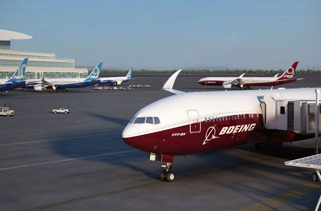 Repülőtéri látványterv Boeing 777-9X-szel. (Fotók: Boeing Company)   © AIRportal.hu