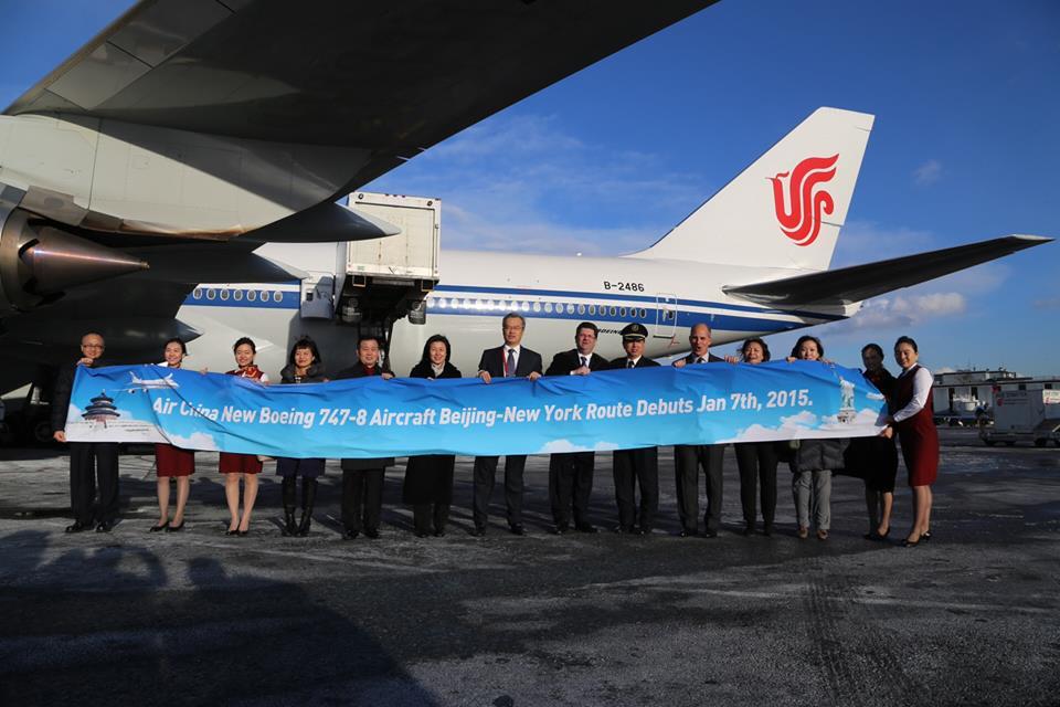 Az első New York-i járatot a B-2486 lajstromú, 2014 novemberében átvett Boeing 747-8I teljesítette. (Fotó: Air China) | © AIRportal.hu
