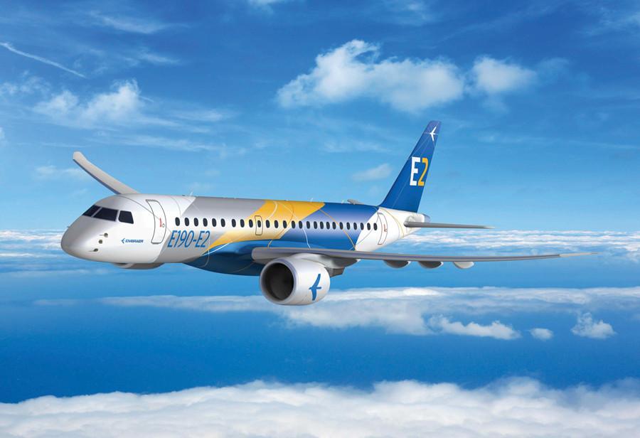 Az új generációs E-Jet-E2 család, amelynek már a Bombardier CSeries-zel is meg kell küzdenie a vevőkért 2018-ra várható. (Fotó: Embraer)   © AIRportal.hu
