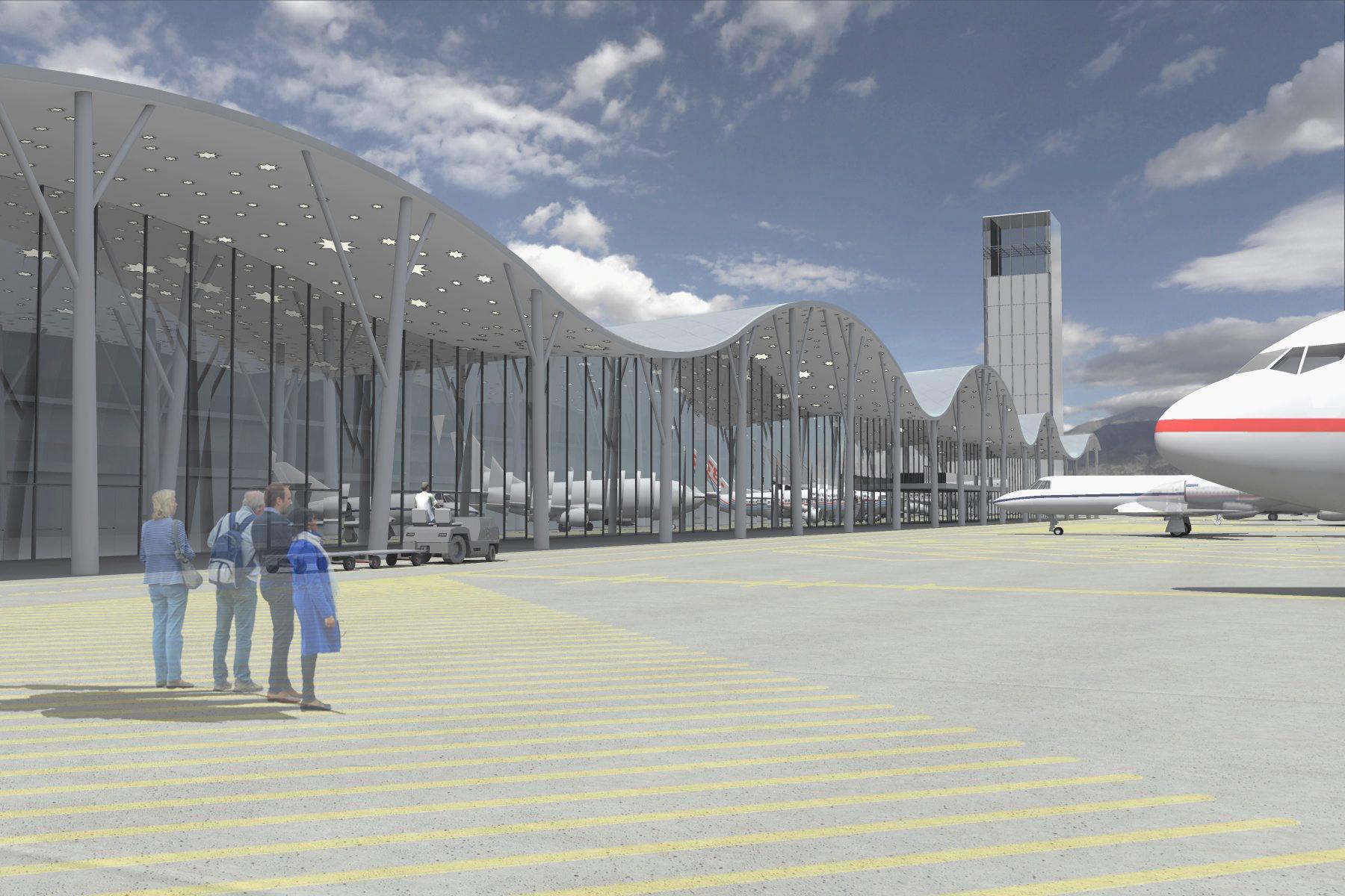 A Nemzetstratégiai Kutatóintézet (NSKI) által közreadott, a székelyföldi nemzetközi repülőtér megvalósíthatósági tanulmányának látványtervei. A látványtervet Nagy Tamás, a LINT Építészeti és Művészeti Kft. vezető építész tervezője készítette. Klikkelj a képre a galéria megnyitásához - 5 kép (Fotók: LINT Építészeti és Művészeti Kft.)   © AIRportal.hu