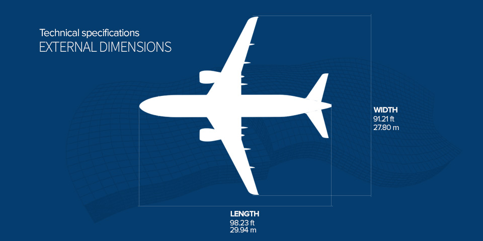 A Superjet törzshossz és szárnyfesztáv adatai infografikán. (Forrás: Szuhoj) | © AIRportal.hu