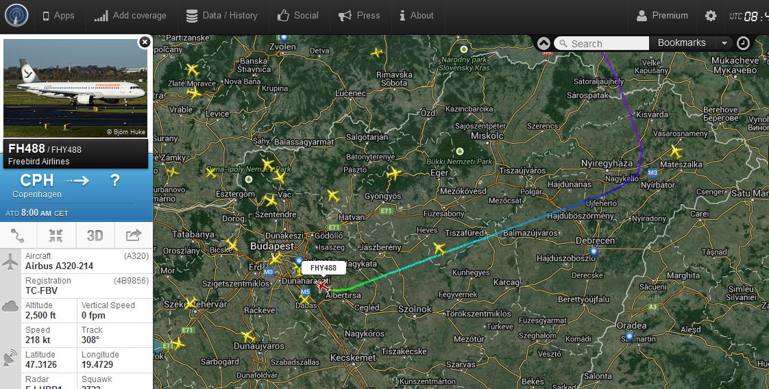 A járat útvonala a Flightradar24.com radarképén.   © AIRportal.hu