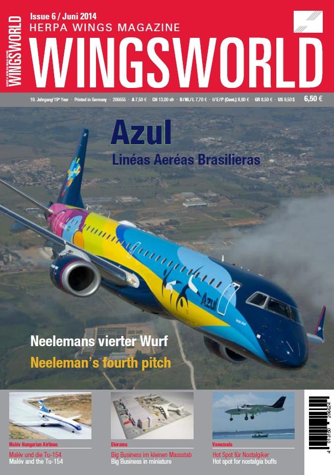 A Herpa WingsWorld magazin 2014. decemberi száma, címlapon a Malév-cikk ajánlójával, lásd. a bal alsó sarokban. (Forrás: Herpa WingsWorld Szerkesztőség) | © AIRportal.hu