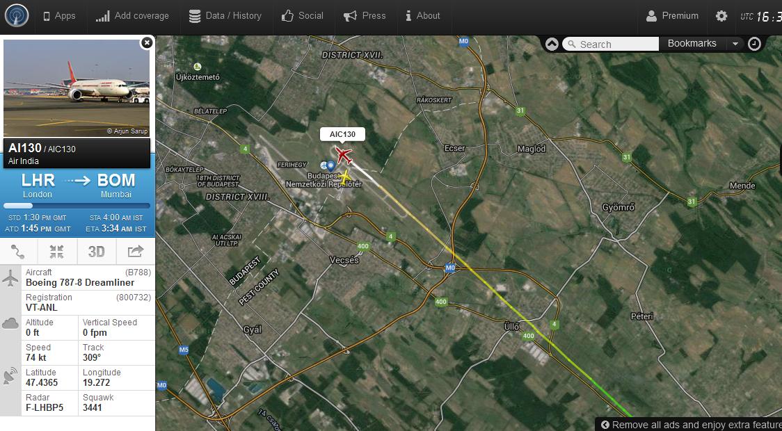 A járat 17:36-kor rendben leszállt Ferihegyen. | © AIRportal.hu