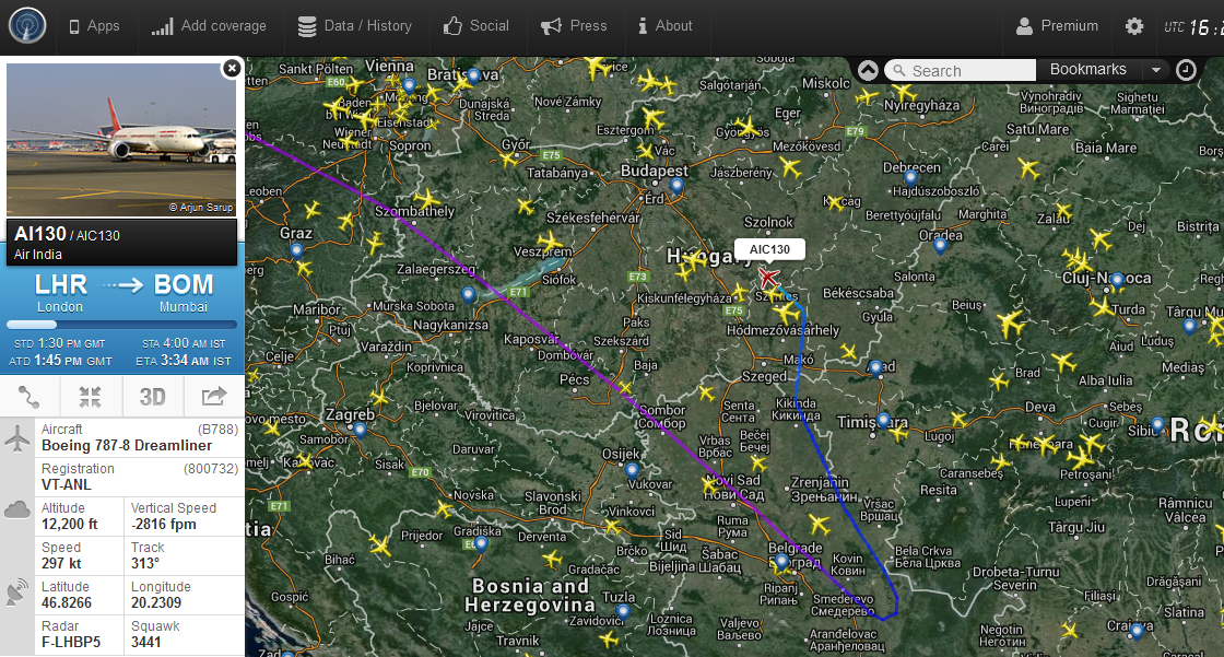 A járat útvonala a Flightradar24.com radarképén 17:24-kor. | © AIRportal.hu