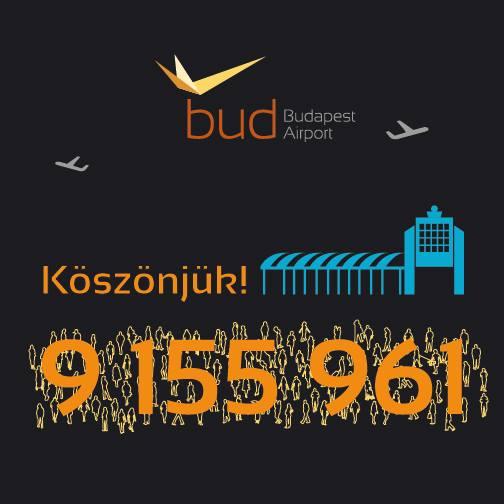 A Budapest Aiport köszönő plakátja a 9 millió főt is meghaladó forgalomért. (Forrás: Budapest Airport) | © AIRportal.hu