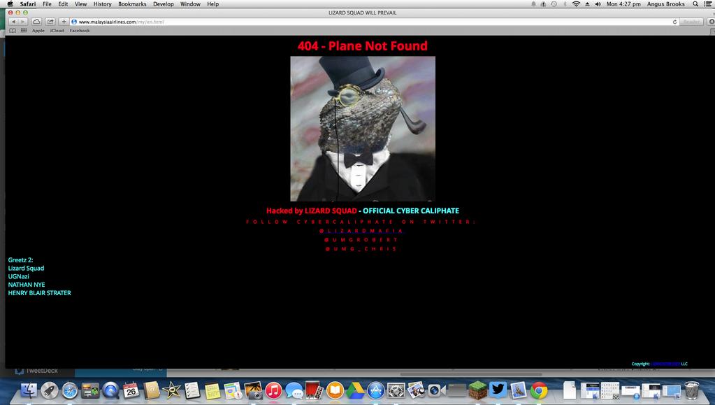 A malaysiaairlines.com URL erre a weboldalra irányította a látogatókat. (Screenshot: Twitter)   © AIRportal.hu